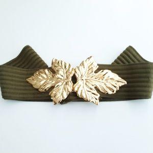 Vintage Khaki Stretchy Gold Leaf Cincher Belt O/S
